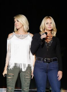 Miranda Lambert Photos Photos - Singers Carrie Underwood (L) and Miranda Lambert perform onstage at the 4th ACM Party for a Cause Festival at the Las Vegas Festival Grounds on April 1, 2016 in Las Vegas, Nevada. - 4th ACM Party for a Cause Festival - Day 1 - Show