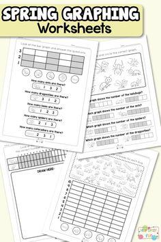 Spring Graphing Worksheets for Kindergarten and Grade Graphing Worksheets, Sight Word Worksheets, Kindergarten Math Worksheets, Alphabet Worksheets, Worksheets For Kids, Math For Kids, Craft Activities For Kids, Kids Crafts, Space Preschool