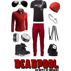 A wearable masculine #Deadpool #outfit I created, inspired by the #MarvelComics character. #geek #fashion