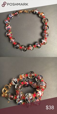 Murano glass Venice vintage bracelet Vintage,handmade, Approx 1969's, gold plated metal. Murano glass Jewelry Bracelets