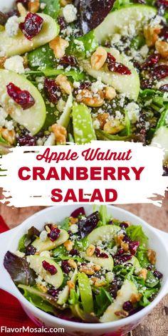 Cranberry Salad Recipes, Side Salad Recipes, Salad Recipes For Dinner, Dinner Salads, Healthy Salad Recipes, Healthy Snacks, Vegetarian Recipes, Healthy Eating, Cooking Recipes