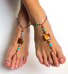 Stunning Boho Chic Beaded Barefoot Sandals Foot Jewelry Handmade Beaded Foot Thong