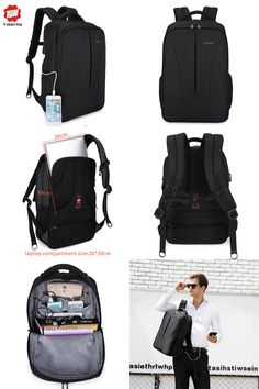 c4f6d48d0b  Visit to Buy  2017 Tigernu New waterproof usb charge 15.6inch laptop  backpack men