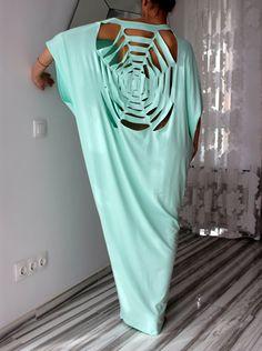 Open Back Mint Plus Size Oversized Backless by cherryblossomsdress, $99.00