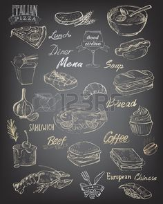 vector hand drawn food and meal on black background Vector