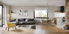 Projekt domu Murator C333j Miarodajny - wariant X 86,6 m2 - koszt budowy 174 tys. zł - EXTRADOM Home Decor Kitchen, Small Apartments, Dining Table, Loft, House Design, Living Room, Interior Design, Furniture, Decoration