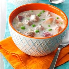 Swedish Meatball Soup Recipe -To me, this is a very comforting, filling, homey soup. I especially like cooking it during winter months and serving it with hot rolls, bread or muffins. —Deborah Taylor, Inkom, Idaho