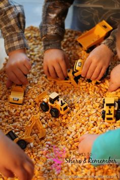 """There are many fun ways to explore the role of a construction worker through play. Ourpreschool community helpers construction worker sensory bin – corn and construction vehicles. I found these construction vehicles at the Dollar Tree store for $1.00 each. Sometimes toys from the dollar stores are not made to hold up for the """"long … … Continue reading →"""