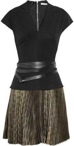 VICTORIA BECKHAM Stretch-crepe and Plissé-jacquard Dress