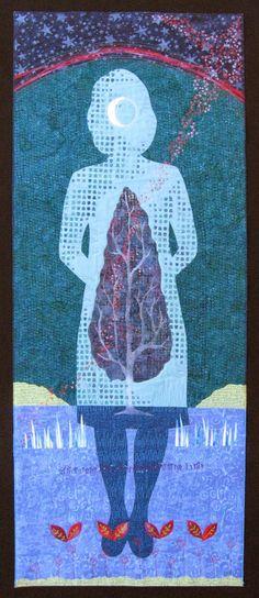 Waning Crescent Meditation, art quilt by Deborah Boschert