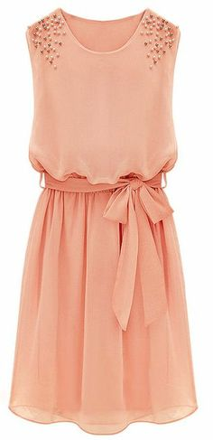 Coral Belt Chiffon Sundress ♥ wear it under any long sleeve jacket to create that perfect summer look