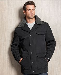 Kenneth Cole Coat, Faux-Fur Collar Puffer Coat - Mens SALE ...