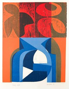 Peter Green 'Floating Night' woodcut and stencil print