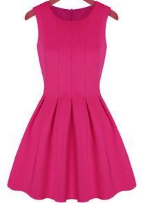 Pink Round Neck Sleeveless Pleated Flare Dress US$17.67