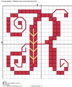 alfabeto rosso circonvoluto decorato R