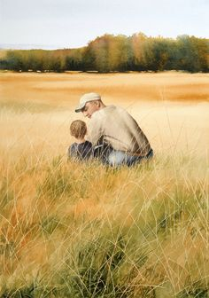 """""""Father and Son"""" (watercolor, 17 x 12)"""