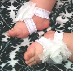 Baby Girl Shabby Shoes Ruffle Sandals in White by sheladyboutique, $13.95 - want to recreate for Lucy!