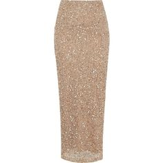 River Island Gold sequin maxi skirt (£30) ❤ liked on Polyvore featuring skirts, bottoms, sale, ankle length skirt, tall skirts, beige maxi skirt, sequin skirt and long beige skirt