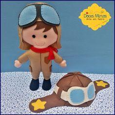 Aviador e chapéu em feltro