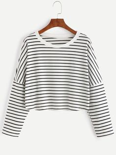 Shop Contrast Striped Drop Shoulder Crop T-shirt online. SheIn offers Contrast Striped Drop Shoulder Crop T-shirt & more to fit your fashionable needs. Striped Long Sleeve Shirt, Long Sleeve Crop Top, Long Sleeve Shirts, Black And White Crop Tops, Striped Crop Top, Stripe Top, Black White, Color Black, Mode Grunge