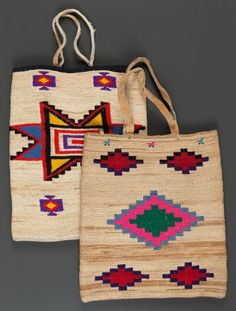 TWO PLATEAU TWINED CORNHUSK BAGS. c. 1900. Native American Baskets, Native American Crafts, Tablet Weaving, Weaving Art, Tapestry Crochet, Beaded Bags, Handmade Bags, Leather Craft, Twine