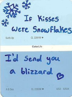 winter kisses quote quotes painting blue Sketch paint sample paint ...
