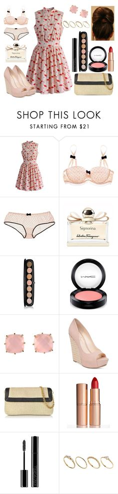 """Flamingos"" by miss-meghan-elizabeth on Polyvore featuring Chicwish, Mimi Holliday by Damaris, Salvatore Ferragamo, Marc Jacobs, MAC Cosmetics, Les Néréides, Jessica Simpson, Buti, Charlotte Tilbury and Giorgio Armani"