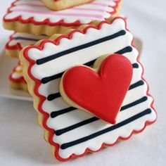 Double-decker, Stripey, Valentine Cookies {with complete decorating tutorial}