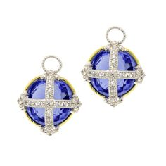 Fleur Cross Charms, Sterling Silver and 18K Yellow Gold with Dark Blue with White Sapphire Pave #judefrances