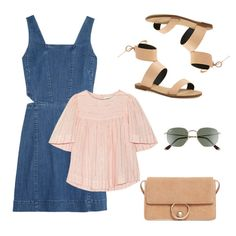 A denim mini dress looks casual and cool with a flowy top beneath. Paired with on trend sandals and a bag in a coordinating color, this outfit is ready to take you through long summer days spent out with friends.
