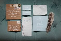 Pale blue coupled with rustic neutrals...such a beautiful #wedding invitation suite! http://iloveswmag.com/2013/01/28/southern-winter-wedding-inspiration-by-vine-light/  Photo Credit: http://vineandlight.com/  Invitation by http://chelseabarrettdesign.com/
