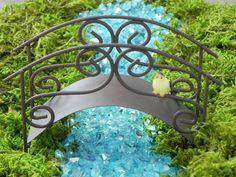 Fairy Garden Bridge accessories rustic miniature footbridge with choice of bird - supply for terrarium - fairy garden - miniature garden
