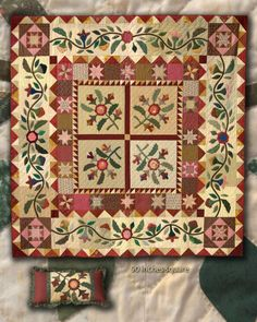 Beautiful Applique Sampler xx 'Emma's Courtyard', hand-appliqued, hand-quilted and designed by Jo Morton Primitive Quilts, Antique Quilts, Blue Quilts, Small Quilts, Mini Quilts, Quilting Projects, Quilting Designs, Scrapbook Bebe, Sampler Quilts