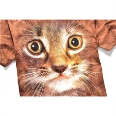 The Mountain Big Face Animals 3D T-Shirts Short Sleeves - Brown Cat