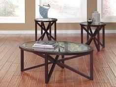 3 Pc Sleffine Coffee Table Set