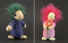 Previous pinner: Mop Top Mascots crochet pattern by planetjune  Me: They look a bit like Fraggles!