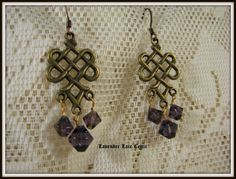 Celtic Knot Earrings with Purple Swarovskis
