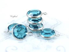 11mm Blue Zircon Vintage Round Swarovski Crystal Silver Plated 1 Ring Channel Connector Link - 2