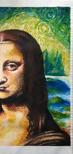 """Acrylique/peinture/Monalisa/Joconde/Postimpressionniste/Pointillisme/contemporain/peinture/réalisme/tableau/acrylique/illustration/graphisme/paint/poppix' Partie d'une bannière de 2m40x1m20, style post-impressionniste (Van Gogh pointillisme) 116x58cm Thème """"Faire danser sa palette"""" Van Gogh, Mona Lisa, Illustration, Artwork, Style, Impressionist, Pointillism, Acrylic Board, Dance In"""