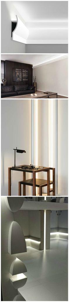 Malerische_Wohnideen - Stuckleisten Lichtleisten Wandgestaltung LED - led leuchten wohnzimmer