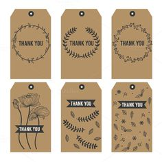 Thank you Printable Tags on Black by MooBeer on Thank You Tag Printable, Thank You Labels, Thank You Tags, Printable Labels, Printables, Diy Birthday Gifts For Mom, Birthday Thank You, Mom Birthday, Paper Bag Design