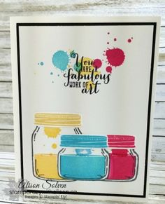 I've been playing lots with the Jar of Love Photopolymer Stamp Set and matching Everyday Jars Framelits Dies. Just stamp and cut out the pieces with the matching framelits - so easy! And when you pu