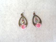 Rose Porcelain Earrings. $10.99, via Etsy.