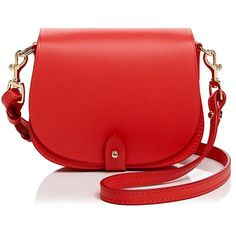 Celine Lefebure Camille Mini Leather Saddle Bag (£320) ❤ liked on Polyvore featuring bags, handbags, shoulder bags, red leather handbags, mini shoulder bag, mini handbags, red leather shoulder bag and leather purses