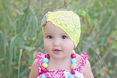 Lemon Zest Shabby Bohemian Headband by baerlyfamous on Etsy