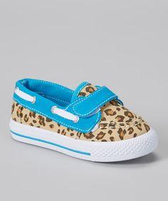 Tan & Blue Leopard Boat Shoe
