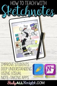 How to Teach with Sketchnotes: Deep Understanding & Visual Note-Taking - Study All Knight English Teacher Resources Google Classroom, School Classroom, Classroom Ideas, Future Classroom, Microsoft Classroom, Classroom Whiteboard, Visual Note Taking, Visual Thinking, Apps