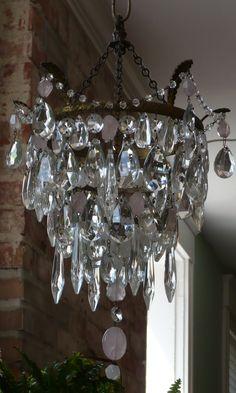 Antique French chandelier frame, faceted rose quartz, mixed antique chandelier crystals KLD
