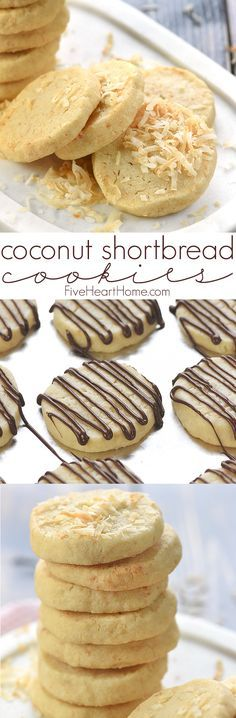 Easy Coconut Shortbread Cookies ~ tender, buttery shortbread is loaded with toasted coconut in this delicious, addictive, easy-to-make recipe!   FiveHeartHome.com