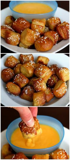 Homemade Soft Pretzel Bites ~ homemade pretzels can be more flavoured and tasty then that ones you can buy in the store. These pretzel bites are adorably great as snacks or appetizers. Think Food, I Love Food, Good Food, Yummy Snacks, Yummy Food, Easy Super Bowl Snacks, Super Bowl Appetizers, Super Bowl Food Party, Super Bowl Deserts